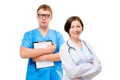 Профессия портрета доктора человека и женщины Стоковое Изображение