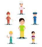 Профессия для того чтобы выбрать характеры Полицейский, шеф-повар, пожарный, футбол вектор Стоковые Фотографии RF
