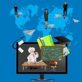 Профессор давая лекцию от монитора и посылая сообщения к международным студентам иллюстрация штока