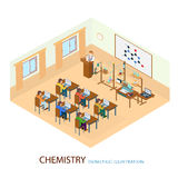 Профессор дал лекцию на положении химии Стоковые Изображения