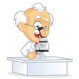 Профессор Используя микроскоп иллюстрация штока