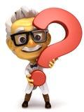 Профессор с символом вопросительного знака стоковое фото rf