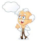 Профессор Thinking с белым пузырем Стоковые Изображения