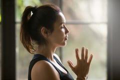 Профилируйте портрет молодой привлекательной женщины yogi с Namaste Стоковое Фото