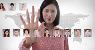 Профили портрета женщины касающие различных людей Стоковое Изображение RF