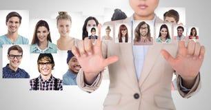 Профили портрета женщины касающие различных людей Стоковое Фото