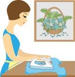 Профиль красивой дамы Одежды милой девушки утюжа Она заботя хозяйка r бесплатная иллюстрация