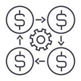 Профинансируйте значок управления линейный, знак, символ, вектор на изолированной предпосылке Стоковое Изображение RF