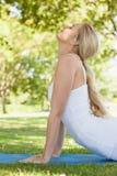 Профилируйте взгляд sporty молодой женщины делая йогу на карте тренировки Стоковые Фотографии RF