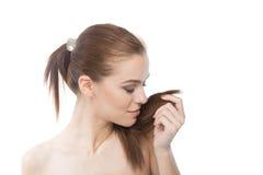 Профилируйте портрет красивой женщины с прямыми волосами Стоковые Изображения