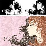 Профиль девушки с красивыми длинными волосами иллюстрация вектора