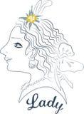 Профиль женщины с edelweiss Стоковая Фотография