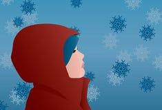 Профиль ребенка в красном пальто зимы с снежинками иллюстрация вектора
