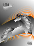 Профиль серебра и оранжевой красивой лошади жеребца корпоративный Стоковые Изображения RF