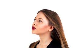 Профиль стильной девушки с длинными белокурыми волосами и красными губами Стоковое фото RF