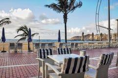 Проход на городском пляже Las Palmas Las Canteras Пустые животики Стоковая Фотография RF