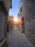 Проход St Катрина - маленькая дорожка в старом городе Таллине, Эстонии стоковое фото rf