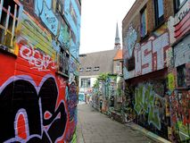 Проход граффити в Генте, Бельгии Стоковая Фотография RF