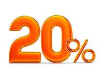 20 процентов на белой предпосылке Изолированная иллюстрация 3d Стоковое Фото