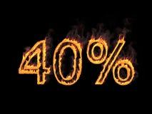 40 процентов 40% Пламенистые цифры с дымом на черной предпосылке перевод 3d Иллюстрация цифров Стоковое Фото