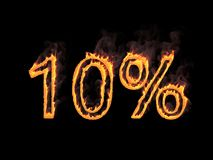 10 процентов 10% Пламенистые цифры с дымом на черной предпосылке перевод 3d Иллюстрация цифров Стоковая Фотография