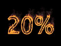 20 процентов 20% Пламенистые цифры с дымом на черной предпосылке перевод 3d Иллюстрация цифров Стоковые Фотографии RF