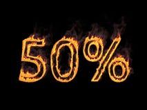 50 процентов 50% Пламенистые цифры с дымом перевод 3d Иллюстрация цифров Стоковое Изображение RF