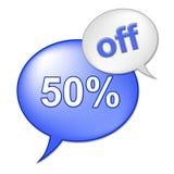 50 процентов с выставок торгуют дешево и продвижение иллюстрация вектора