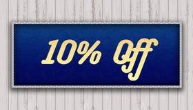 10 ПРОЦЕНТОВ С рукописного на голубом кожаном виде картины картины Стоковая Фотография