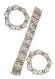 Проценты знака сделанные банкнот Стоковое фото RF