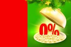 Проценты красного цвета 0% золотого подноса обслуживания показывая Стоковая Фотография