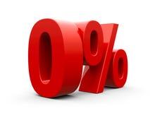 Проценты красного цвета zero Стоковые Изображения RF