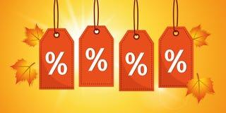 Проценты продажи осени оранжевые обозначают бирки на солнечной предпосылке бесплатная иллюстрация