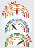 Проценты спидометра продажи скидки мега Стоковая Фотография RF