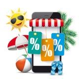 Проценты стикеров цены ладоней Солнця шатёр магазина Smartphone иллюстрация вектора
