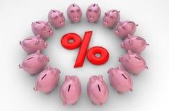 Проценты Piggybanks Стоковые Изображения
