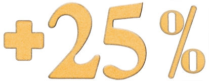 Процент помогает, плюс 25 двадцать пять процентов, изолированным цифрам Стоковая Фотография