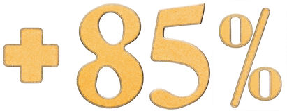 Процент помогает, плюс 85 восемьдесят пять процентов, изолированным цифрам Стоковая Фотография RF