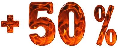 Процент помогает, плюс 50, процентам fift, цифрам изолированным на wh Стоковая Фотография