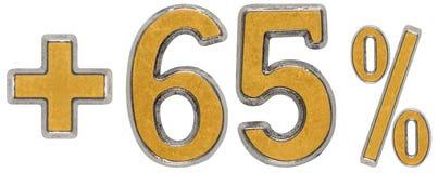 Процент помогает, плюс 65 шестьдесят пять процентов, изолированным цифрам Стоковое фото RF