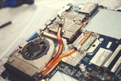 Процессор компьютера с вентилятором стоковые фотографии rf