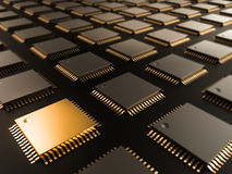 Процессор (микросхема) соединил получать и посылку информацию блок технологического прочесса C Стоковая Фотография RF