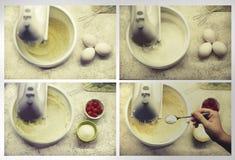Процесс взбивать белизны яичка с смесителем руки Процесс делать печенье испечет домодельное Стоковые Изображения RF