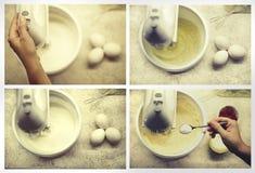 Процесс взбивать белизны яичка с смесителем руки Процесс делать печенье испечет домодельное Стоковое фото RF