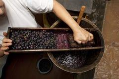 Процесс винодельни делать вина домодельной с дубом barrel и woode Стоковые Изображения RF