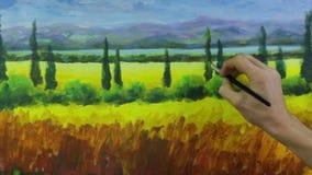 Процесс искусства творческий Художник создает картину на холсте акции видеоматериалы