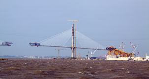 Процесс конструкции моста залива Кадиса вторых Испания Стоковая Фотография