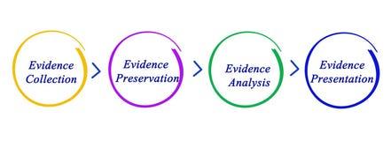 Процесс обрабатывать доказательства иллюстрация штока