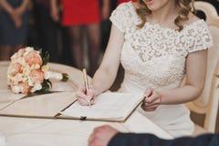Процесс подписания важного документа женщины 6668 Стоковые Фото