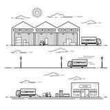 Процесс поставки оборудования схемы плана в магазине Линия иллюстрация вектора искусства изолированная на белой предпосылке Стоковое Фото